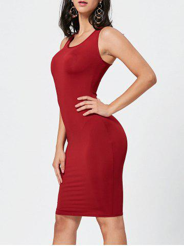 Outfit Sexy Scoop Neck Sleeveless Bodycon Solid Color Women's Dress WINE RED M