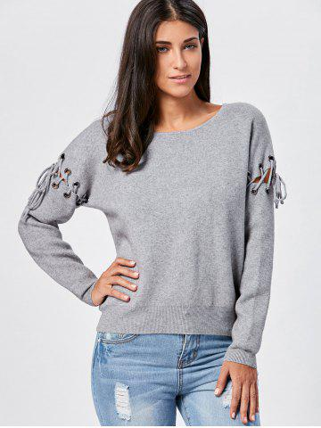 Ribbed Lace Up Pullover Knitwear