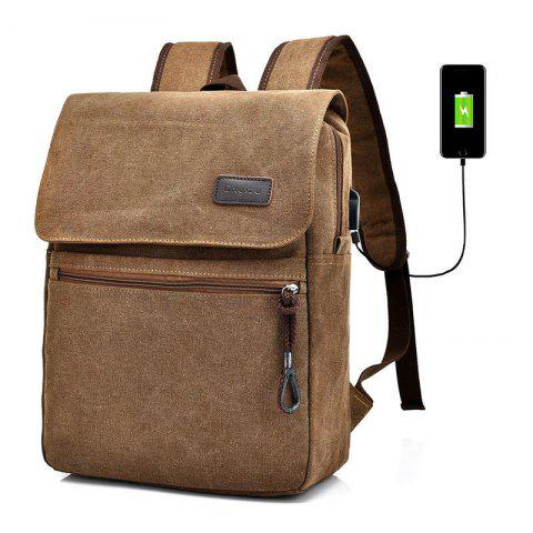 Latest Zippers Canvas Double Pocket Backpack - COFFEE  Mobile