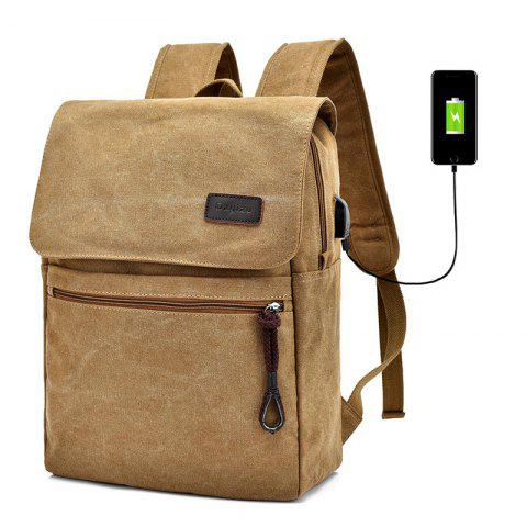 Hot Zippers Canvas Double Pocket Backpack