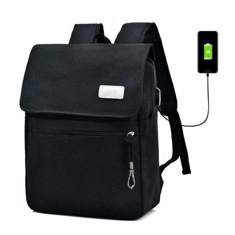 Trendy Zippers Canvas Double Pocket Backpack