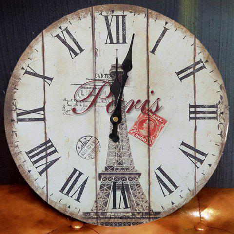 Sale Eiffel Tower Wood Round Analog Wall Clock - WHITE 50*50CM Mobile
