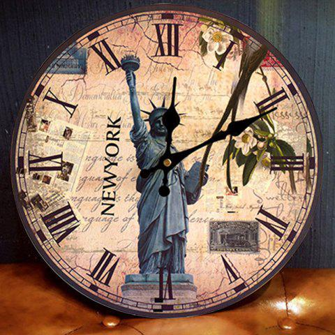 Fashion Statue of Liberty Round Wood Analog Wall Clock ANTIQUE BROWN 50*50CM