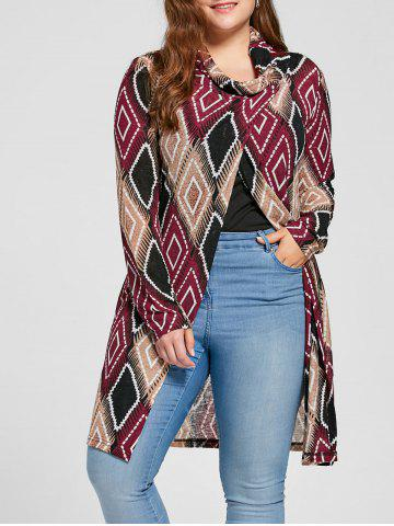 Outfits Plus Size Geometric Cowl Neck Top