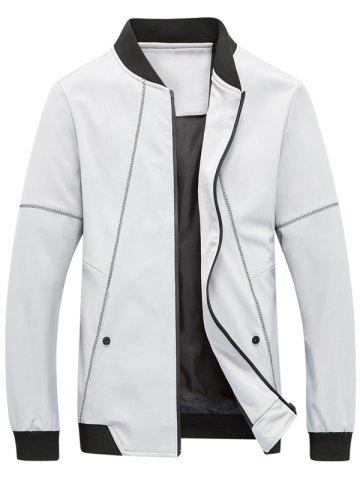 Fancy Suture Panel Stand Collar Zip Up Jacket GRAY L