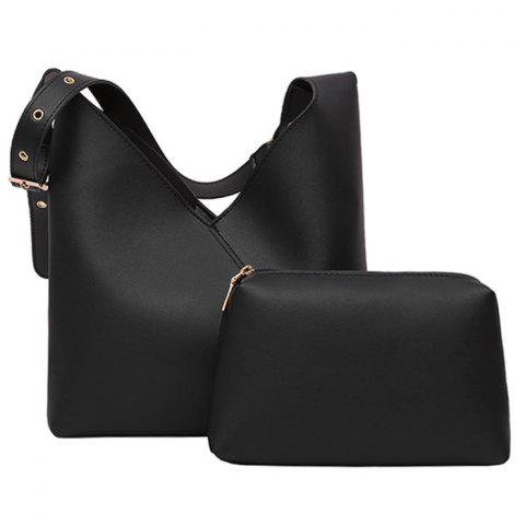 Shop PU Leather Two Pieces Shoulder Bag Set BLACK