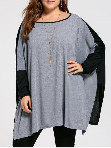 Discount Color Block Plus Size Long Sleeve Poncho T-shirt