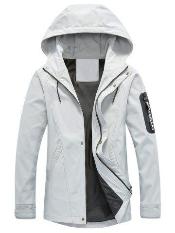 Chic Zip Pocket Hooded Graphic Braid Jacket