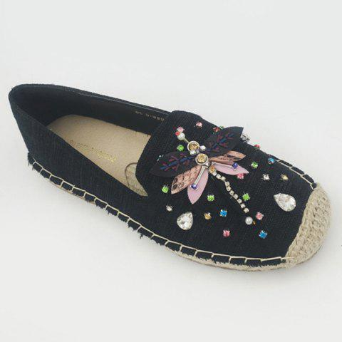 Dragonfly Rhinestone Espadrille Slip On Shoes