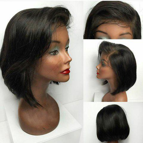 Trendy Deep Side Bang Short Straight Bob Lace Front Synthetic Wig