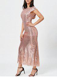 Sexy Jewel Neck Short Sleeve Sequined Backless Dress For Women -