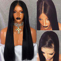 Free Part Long Straight Lace Front Human Hair Wig - BLACK
