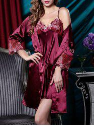 Embroidery Satin Cami Dress with Robe - DARK RED