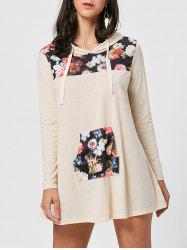 Kangaroo Pocket Hooded Floral Print Mini Dress - Multicolore S