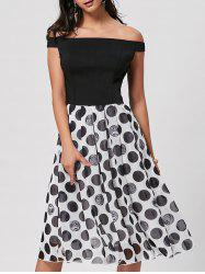 Polka Dot Off The Shoulder Midi Dress