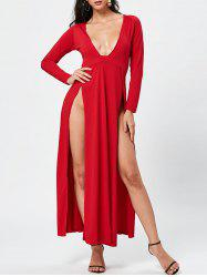 Chic Women's Plunging Neck Long Sleeve High Furcal Dress