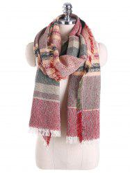 Plaid Cotton Blending Fringed Brim Shawl Scarf