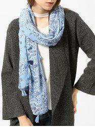Tassels Paisley Pattern Retro Shawl Scarf - LIGHT BLUE
