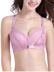 Lace Push Up Jacquard Strap Bra - LIGHT PINK