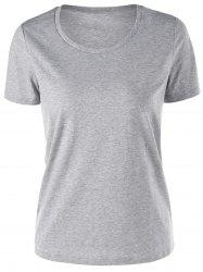 Short Sleeve Basic T-shirt - GRAY M