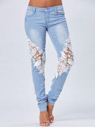 Lace Insert Staright Jeans - BLUE