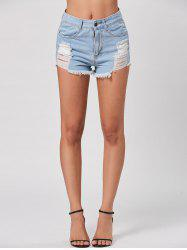 Denim Mini Distressed Cuff Off Shorts