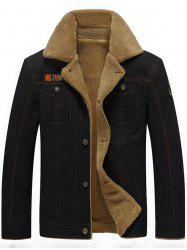 Chest Flap Pocket Faux Shearling Jacket - BLACK 3XL