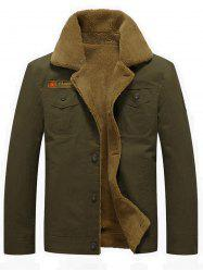 Chest Flap Pocket Faux Shearling Jacket - ARMY GREEN 2XL