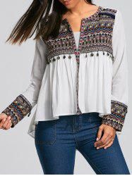Coin Pendant High Low Ethnic Smock Blouse