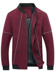 Suture Panel Stand Collar Zip Up Jacket - RED 5XL
