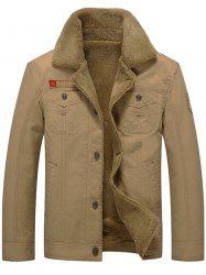 Chest Flap Pocket Faux Shearling Jacket - KHAKI XL