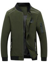 Zip Pocket Stand Collar Applique Jacket - ARMY GREEN L