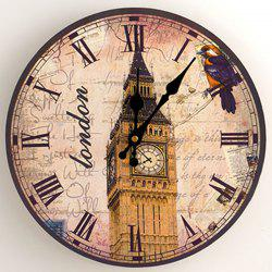 Big Ben Analog Wood Round Wall Clock - Antique Brun