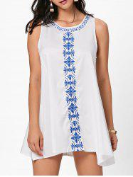 Flower Embroidered Mini Summer Dress - WHITE XL