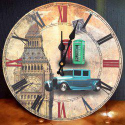 Big Ben Analog Wood Round Wall Clock -