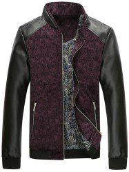 PU Leather Panel Floral Velvet Zip Up Jacket - WINE RED XL