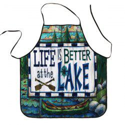 Cartoon Lake Proverbs Print Waterproof Kitchen Apron - COLORMIX