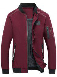 Zip Pocket Stand Collar Applique Jacket - RED 3XL