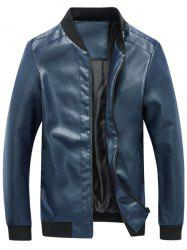 Zip Up Rib Panel Faux Leather Jacket - BLUE 5XL