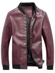 Zip Up Rib Panel Faux Leather Jacket - RED 5XL