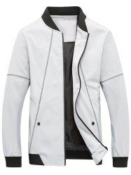 Suture Panel Stand Collar Zip Up Jacket - GRAY XL