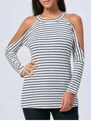 Long Sleeve Striped Cold Shoulder Tunic Top