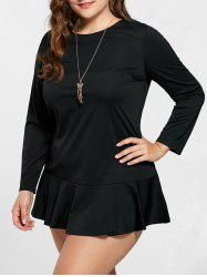 Drop Waist Ruffle Plus Size Mini Dress