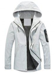 Zip Pocket Hooded Graphic Braid Jacket - GRAY 3XL