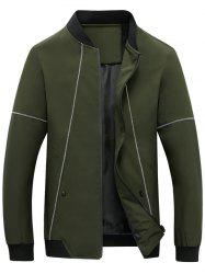 Suture Panel Stand Collar Zip Up Jacket - Vert Armée 4XL