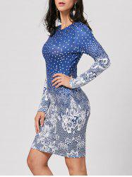 Polka Dot Floral Printed Mini Dress - BLUE XL