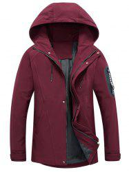 Zip Pocket Hooded Graphic Braid Jacket - RED