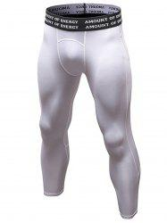 Quick Dry Openwork Panel Stretchy Gym Capri Pants - WHITE L