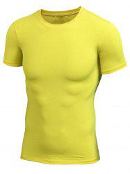 Short Sleeve Stretchy Fitted Gym T-shirt - YELLOW XL