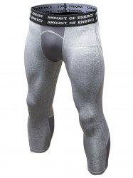 Quick Dry Openwork Panel Stretchy Gym Capri Pants - GRAY L
